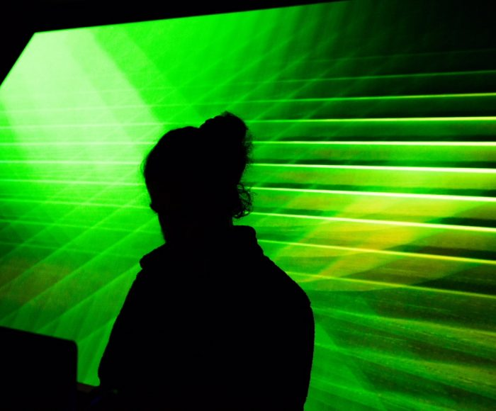 Joe Beedles performing live audiovisual set at Future Sessions launch party