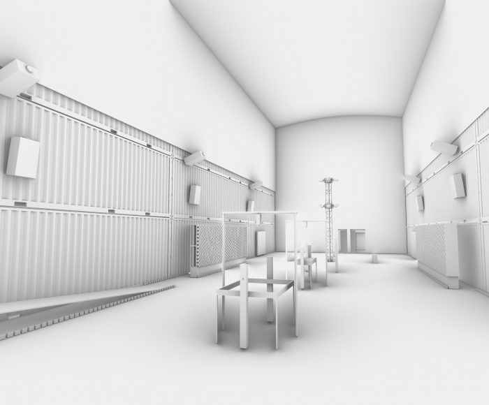 Early computer rendered sketch of the interior of Lozano Hemmer's Atmospheric Chamber venue