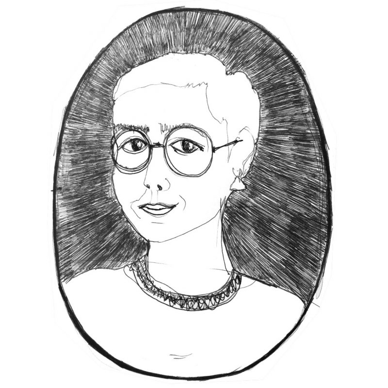 A black and white line drawing illustred self-portrait by Elvia Vasconcelos