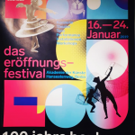 A colourful poster in the Bauhaus style reading 100 jahre bauhaus